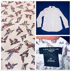 Ann Taylor Petite Blouse 6P Pink Bird Print